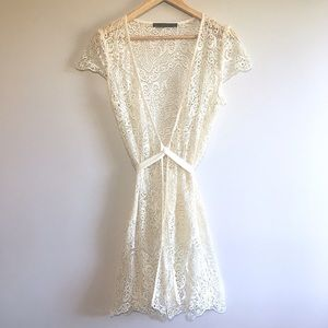 Zara Lace Cap Sleeve Swimsuit Cover-Up Caftan Robe